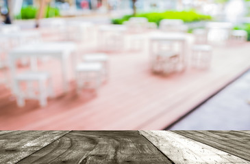 Fotomurales - blur image of Tables and decoration prepared for an outdoor part
