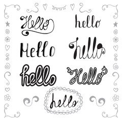 Hello in different style vector set. Hand drawn romantic design