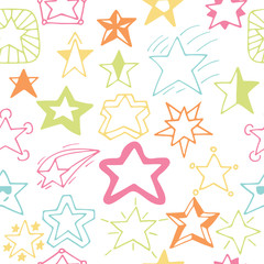 Seamless pattern with hand drawn stars. Sketchy star seamless ba