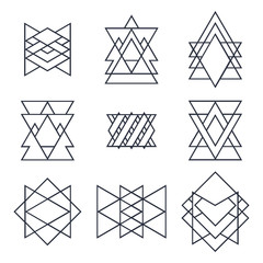 Set of geometric shapes for your design. Trendy hipster logotype