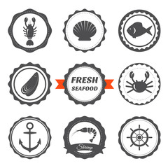 Set of seafood labels. Seafood logos and design elements