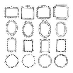 Vintage hand drawn frames in vector. Doodle set of design elemen
