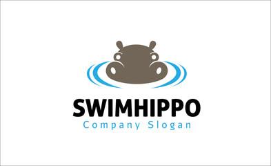 Swim hippo logo template