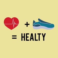 healthy lifestyle and tennis shoes over yellow color background