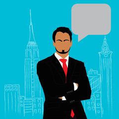 Businessman, sketch city, skyscraper, vector