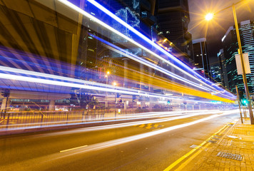 Car light trails and urban landscape in Hong Kong