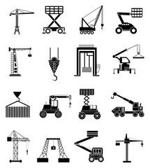 Heavy lifting machines icons set