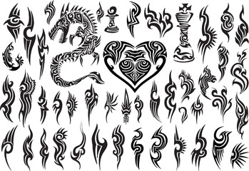 Tribal Tattoo Vector Design Set