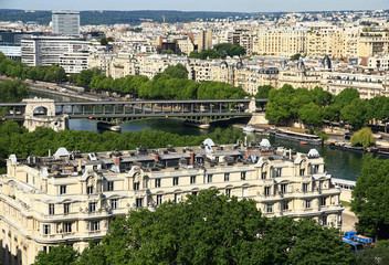 France. Paris. View on the bridge Bir Hacheim and the historical buildings