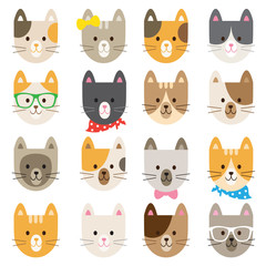 Vector illustration of cats in different colors and patterns.