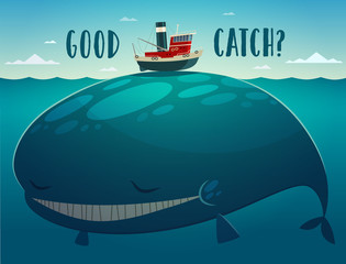 Good catch. Tugboat and whale. Vector illustration.