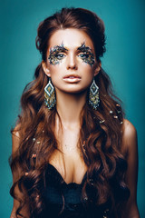 Girl model with beautiful makeup. tilt-shift. blur
