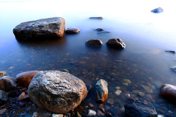 beach stone coast water frozen landscape