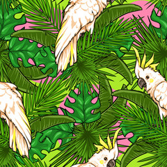 Seamless pattern with palm leaves and parrots