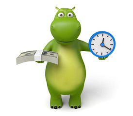 3d cartoon animal with a clock and some money. 3d image. Isolated white background