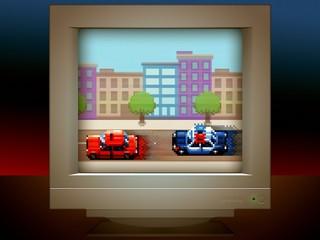 police car chase pixel art game retro monitor screen