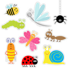 Cute cartoon insect sticker set. Ladybug, dragonfly, butterfly, caterpillar, ant, spider, cockroach, snail. Isolated. Flat design
