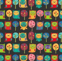 Owls and trees. Gift wrap paper's pattern