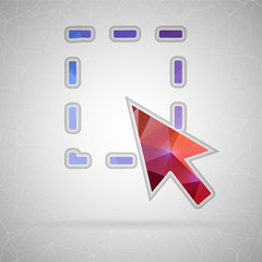 Abstract Creative concept vector icon of mouse cursor. For Web