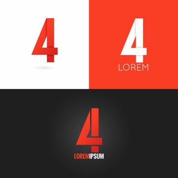 number four 4 logo design icon set background