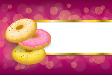 Background abstract food pink yellow baked donut glazed ring stripes gold frame illustration vector