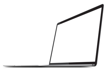 Laptop with thin body, blank screen - vector illustration