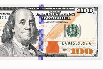 Macro shot of a new 100 dollar bill isolate on white background