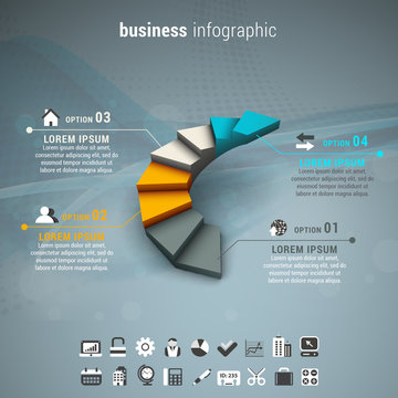 Business infographic made of stairs.