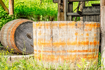 Old wood barrel used for stomping or crushing grapes.