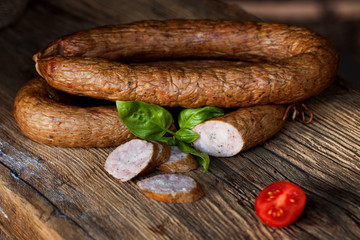 Traditional food. Smoked sausage.