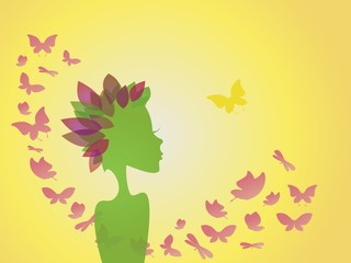 abstract background , woman - flower with butterflies