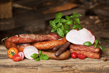 Assortment of cold meats, variety of processed cold meat products