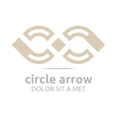 Logo Desing Letter C Square Arrow Arch Brown Icon Symbol Abstract Vector