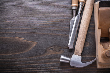 Copy space image of joiner's tools on vintage wooden board const