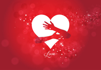 hands hugging white love heart on red background