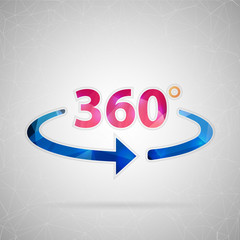 Abstract creative concept vector icon of 360 degrees. For web