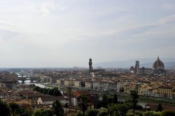 Florence cityscape with Duomo Santa Maria Del Fiore and Piazza Della Signoria from Piazzale Michelangelo, Italy