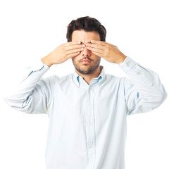 blind man gesture on a white background
