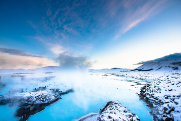 Blue lagoon hot spring spa. one of main tourist attraction in Reykjavik, Iceland