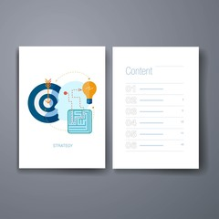 Modern ideas generation for business purposes flat icons cards