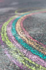 Chalk drawing of rainbow