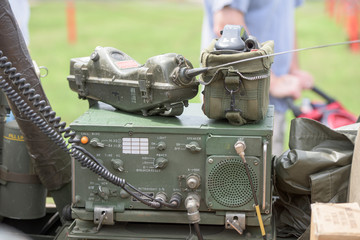world war camp radio on a Jeep