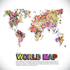 Abstract telecommunication world map with circles, lines and gradients - Detailed EPS10 vector design