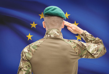 National military forces with flag on background conceptual series - European Union - EU