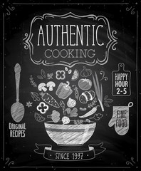 Wall Mural - Authentic cooking poster - chalkboard style.