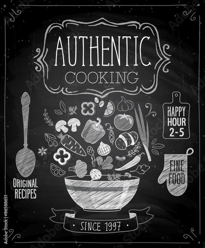 Wall mural Authentic cooking poster - chalkboard style.
