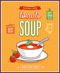 Wall Mural - Vintage Tomato Soup Poster.