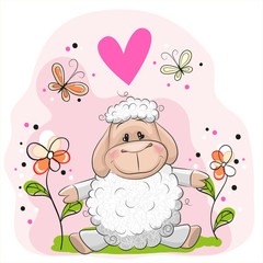 Sheep with flowers