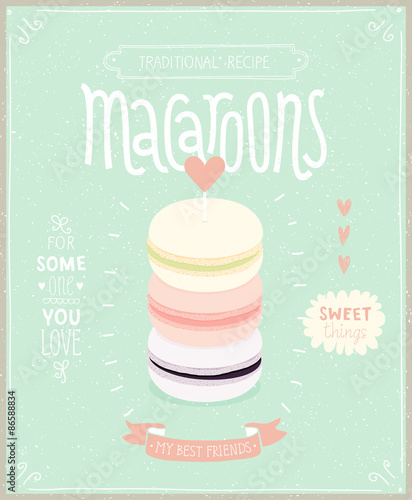 Wall mural Macaroons Poster - template for your design.