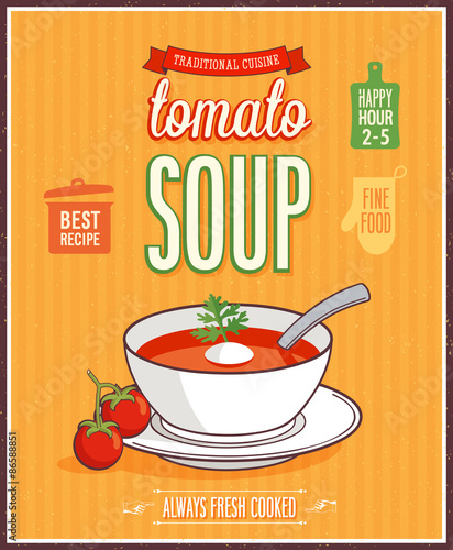 Wall mural Vintage Tomato Soup Poster.
